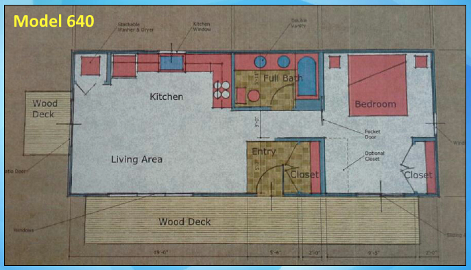 Container Home 640sf Floor Plan