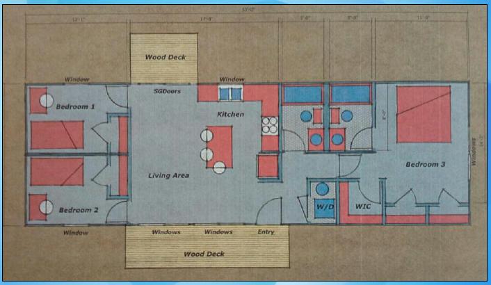 Nexus Contain Home - 848sf Floor Plan